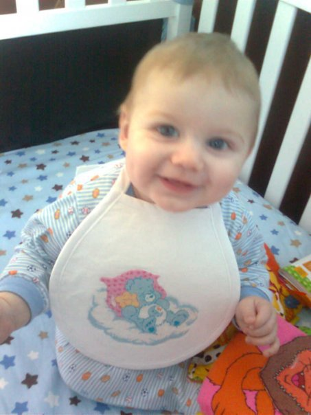 Bedtime Bear Bib - Modeled by Lucas